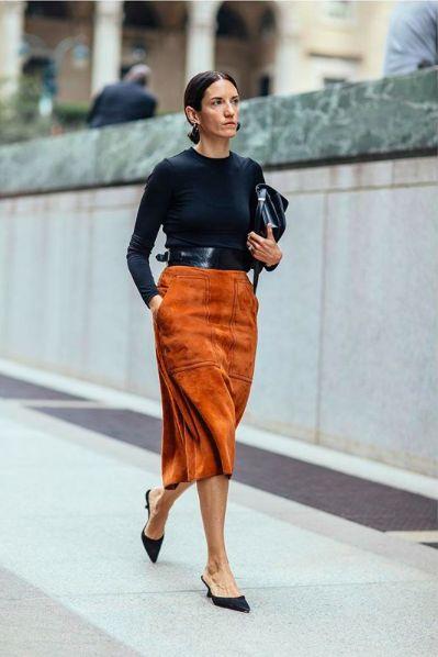 Burnt umber / amber suede skirt