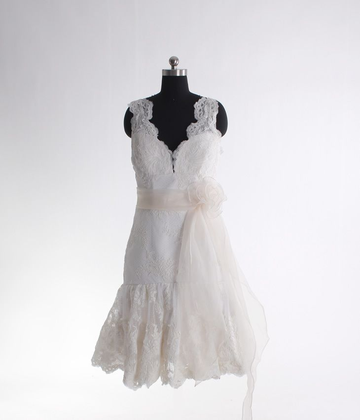 A-line sleeveless lace knee-length bridal gown