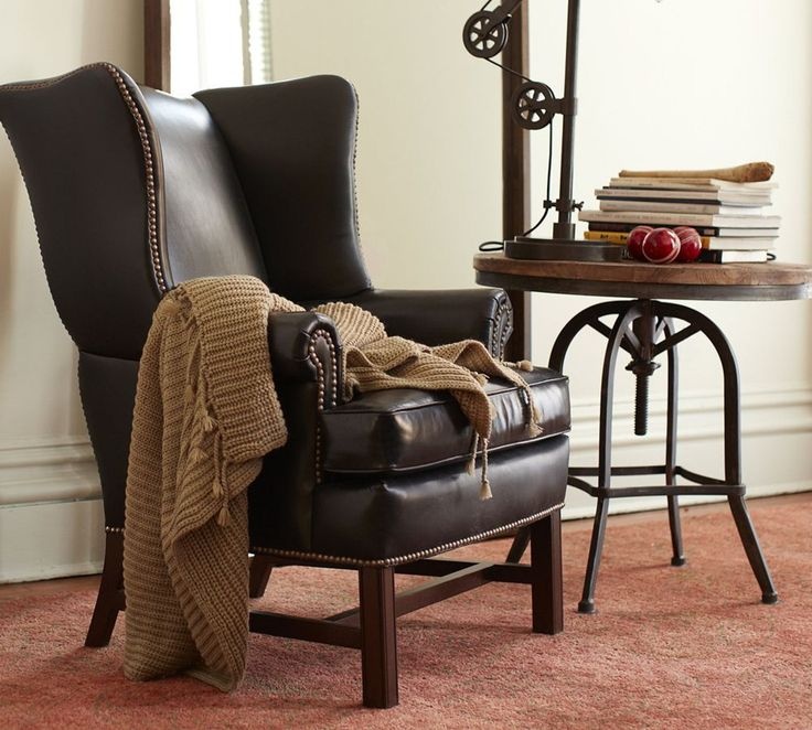 Thatcher Leather Wingback Chair   Black