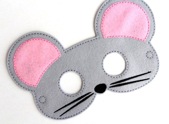 Kids Mouse Mask, Mouse Costume, Felt Mask, Kids Face Mask, Animal Mask, Halloween Costume, Pretend Play, Dress Up, Party Favors, Costume