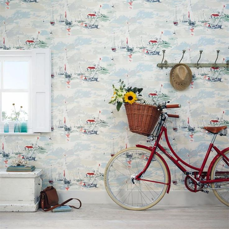 Sanderson Sail Away Tapet online hos Engelska Tapetmagasinet | Tapeter | Blommig | Inredning | Göteborg | Boat | Wallpaper | Romantic | bike | Vintage