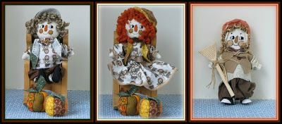 "Linda Walsh Originals Dolls and Crafts Blog: MY 3 in 1 ""Melanie Munchkin, Morty Munchkin and Punky - Elmer's Little Scarecrow"" Victorian Munchkin Scarecrow Dolls NEW Combo E-Pattern"