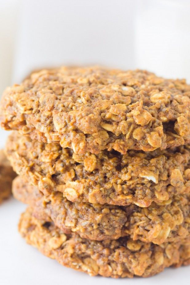 Simple healthy vegan breakfast cookie loaded with chia seeds and rolled oats
