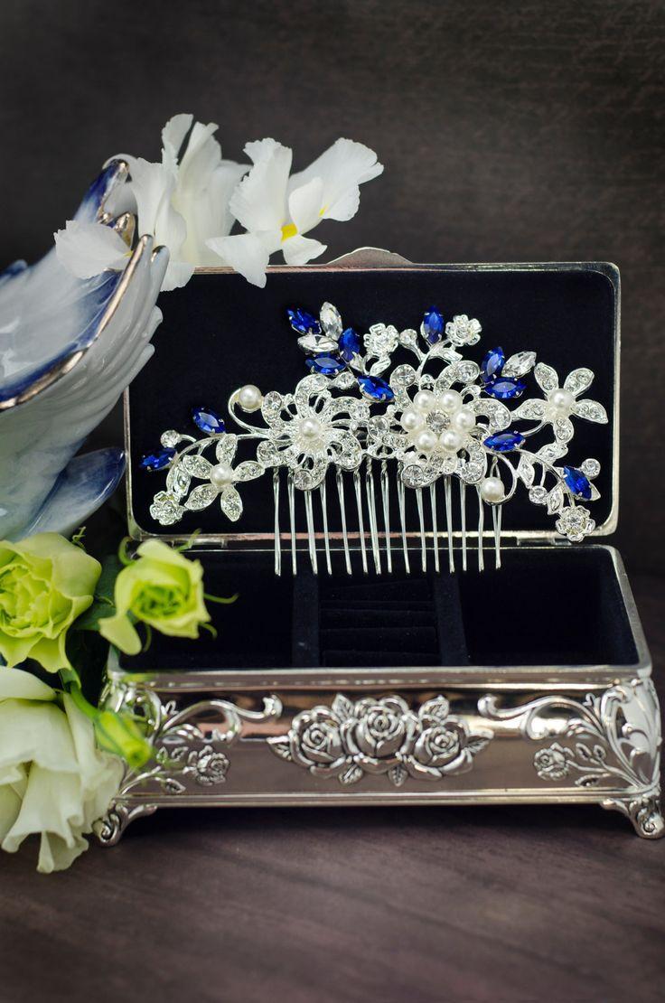 Something blue hair comb sapphire blue от MarinaUA