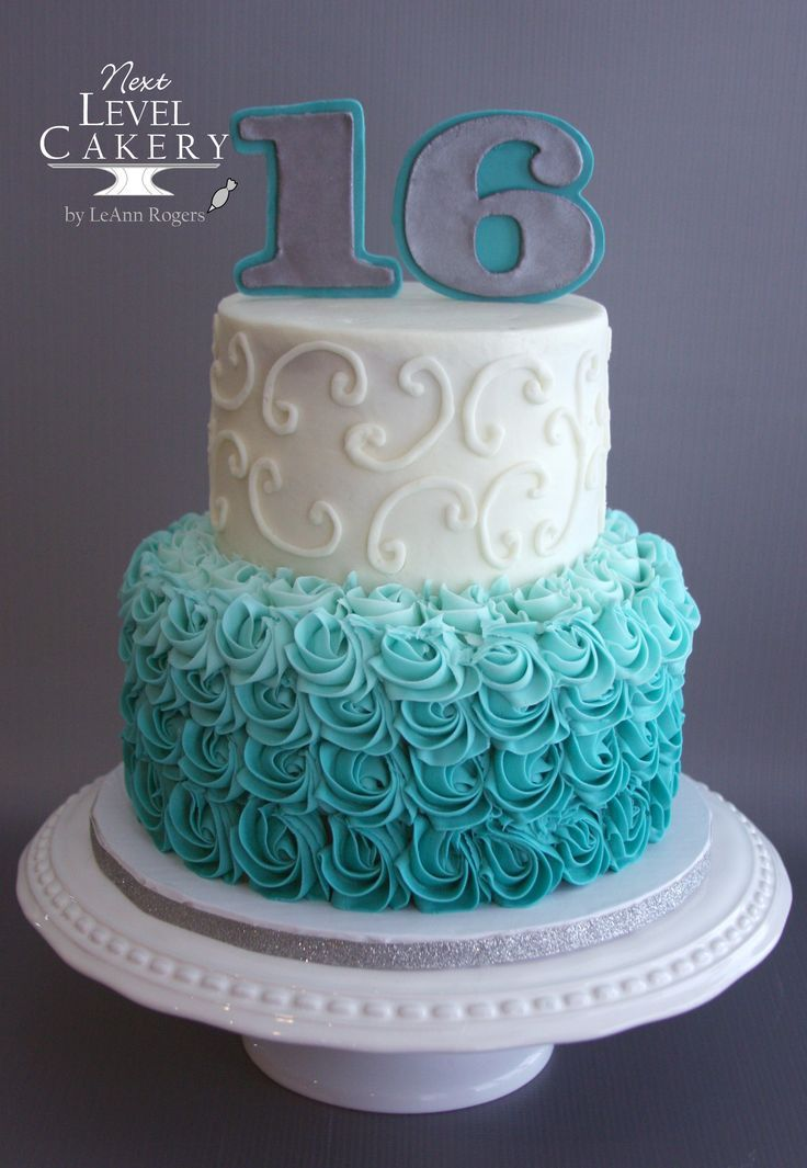 Sweet 16 Birthday Cake Scroll Work Rosettes Ombre Teal Cake