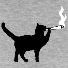 Joint weed smoking smoking hemp cannabis cat T-Shirts
