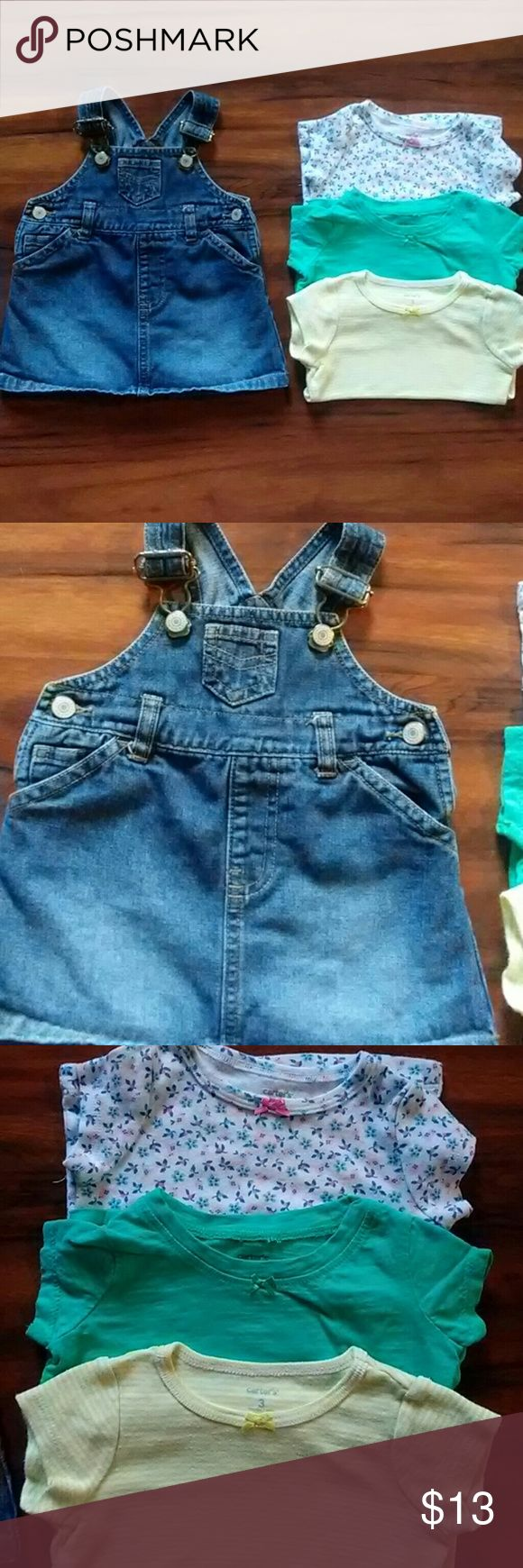 Jean Overall Dress & Tops Great condition. One of my favorites from my daughter's Summer pieces! Old Navy overalls and Carter's tops. Dresses Casual
