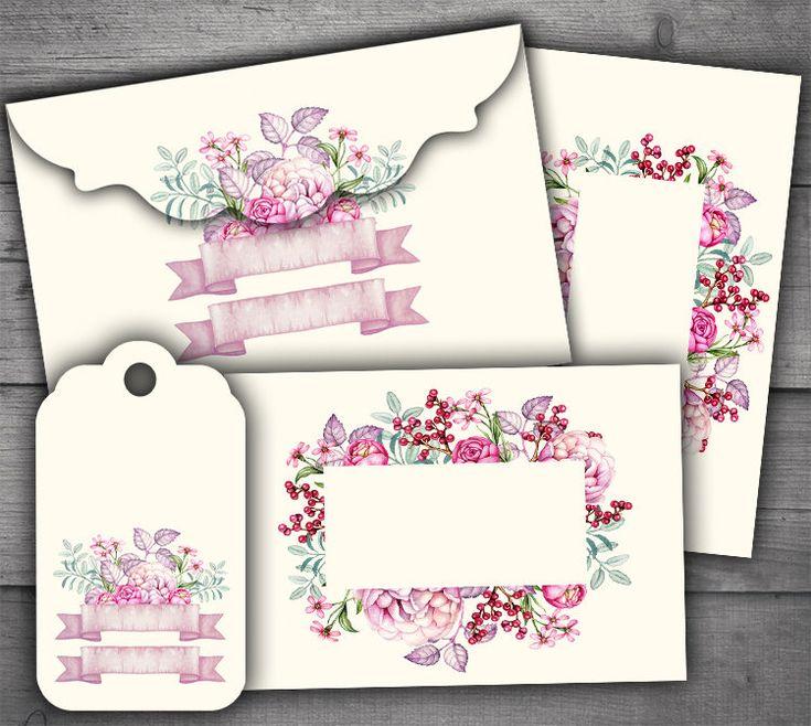 Floral Envelopes, Tags & Cards Digital Collage Sheet Printables http://etsy.me/2DC7S7K