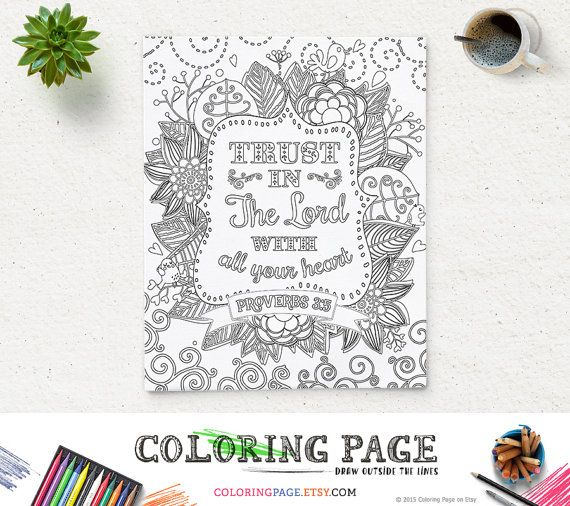 Coloring Page Printable Bible Verse Proverbs 3:5 Trust in The Lord Instant Download Kids coloring page