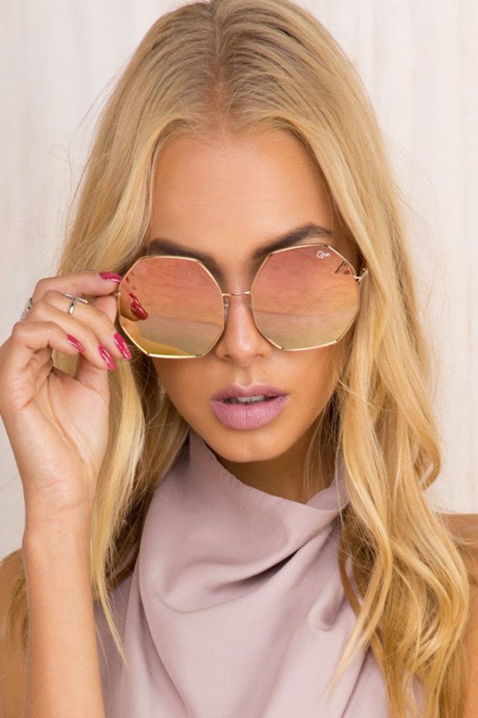 d8280ab1cac QUAY Kiss And Tell Sunglasses Rose Gold in 2019