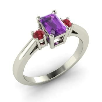 Emerald-Cut Amethyst  and Ruby Sidestone Ring in 14k White Gold