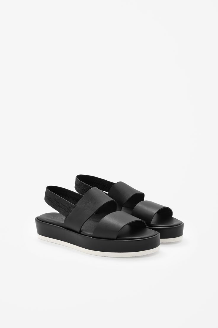 Contrast leather sandals COS white sole