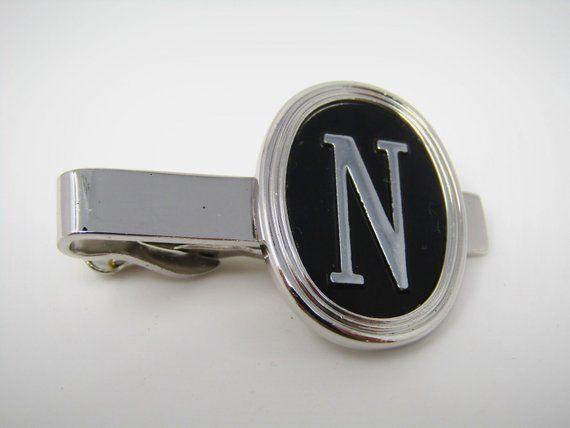 Wonderful Swirl Design Clear Jewel Design Vintage Men/'s Tie Bar Clip Jewelry