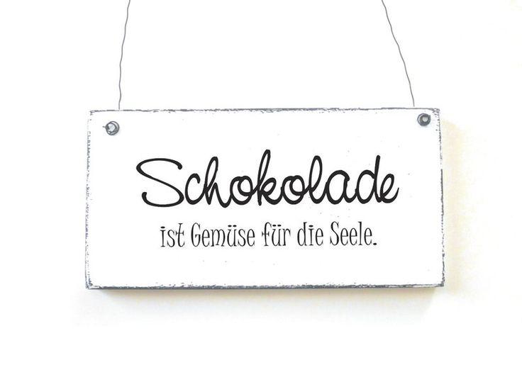 Dekoschild SCHOKOLADE IST GEMÜSE Holzschild Shabby von DÖRPKIND auf www.doerpkind.de