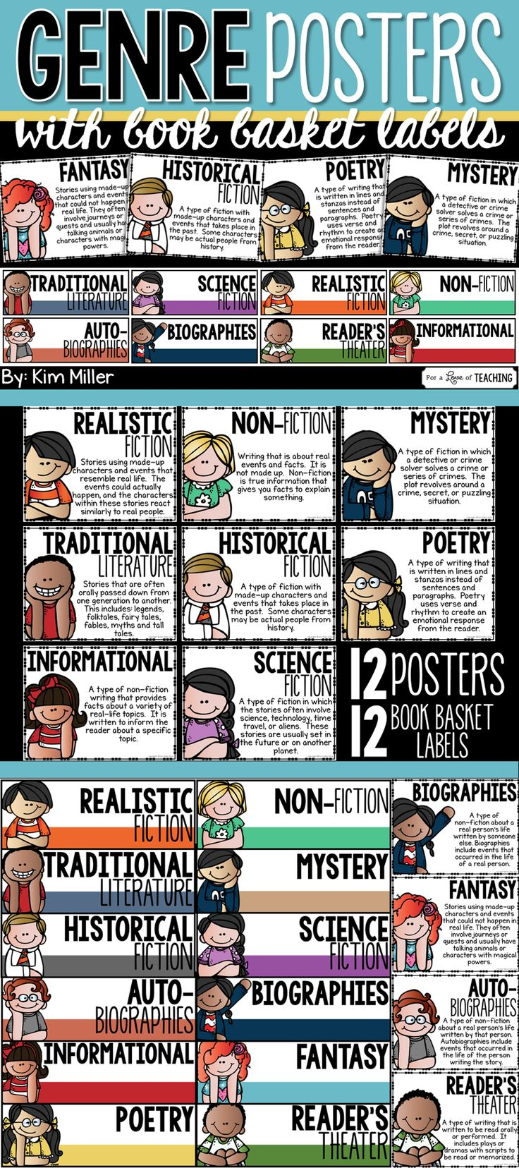 12 genre posters with 12 matching book basket labels