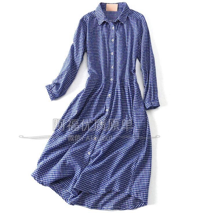 День первый! Японская девушка! Штраф клетчатую хлопка воротник рубашки поло юбки…