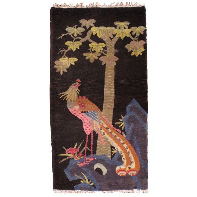 """Image of 1920s Hand Made Antique Art Deco Chinese Rug - 2'9"""" X 5'4"""""""