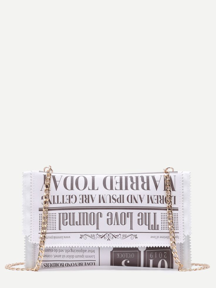 Sac avec chaîne en cuir PU imprimé - blanc -French SheIn(Sheinside)
