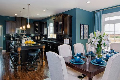 Kitchens traditional dining room - love the cobalt blue