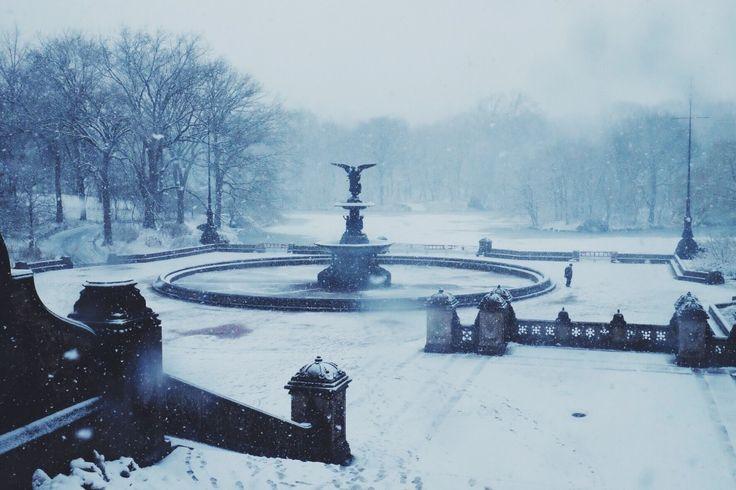 Frozen fountain in Central Park