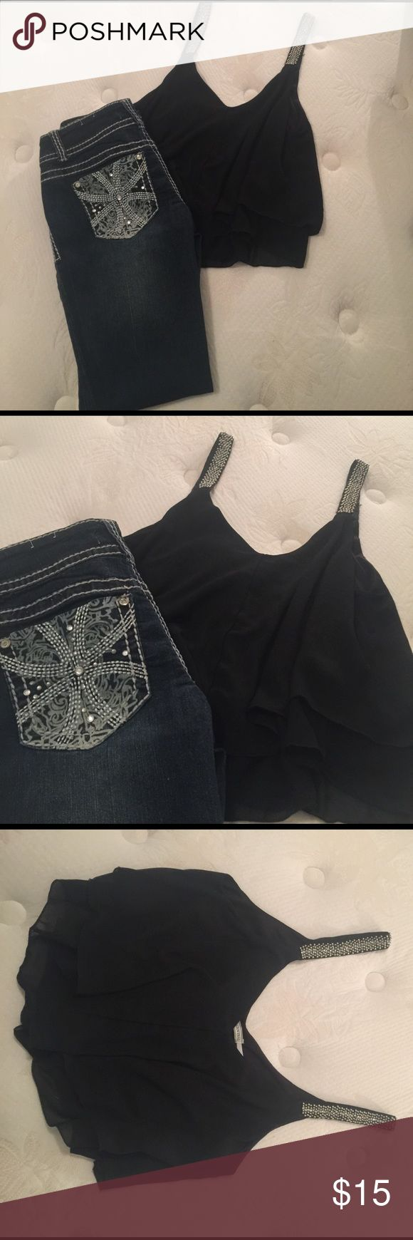Body Central embellished black shirt and jeans! Body Central embellished black shirt and jeans. The shirt is a size: Xl and the jeans are a size: 9 made by almost famous and straight leg. Great tight stretchy material. Make an offer ❤ Body Central Jeans Ankle & Cropped