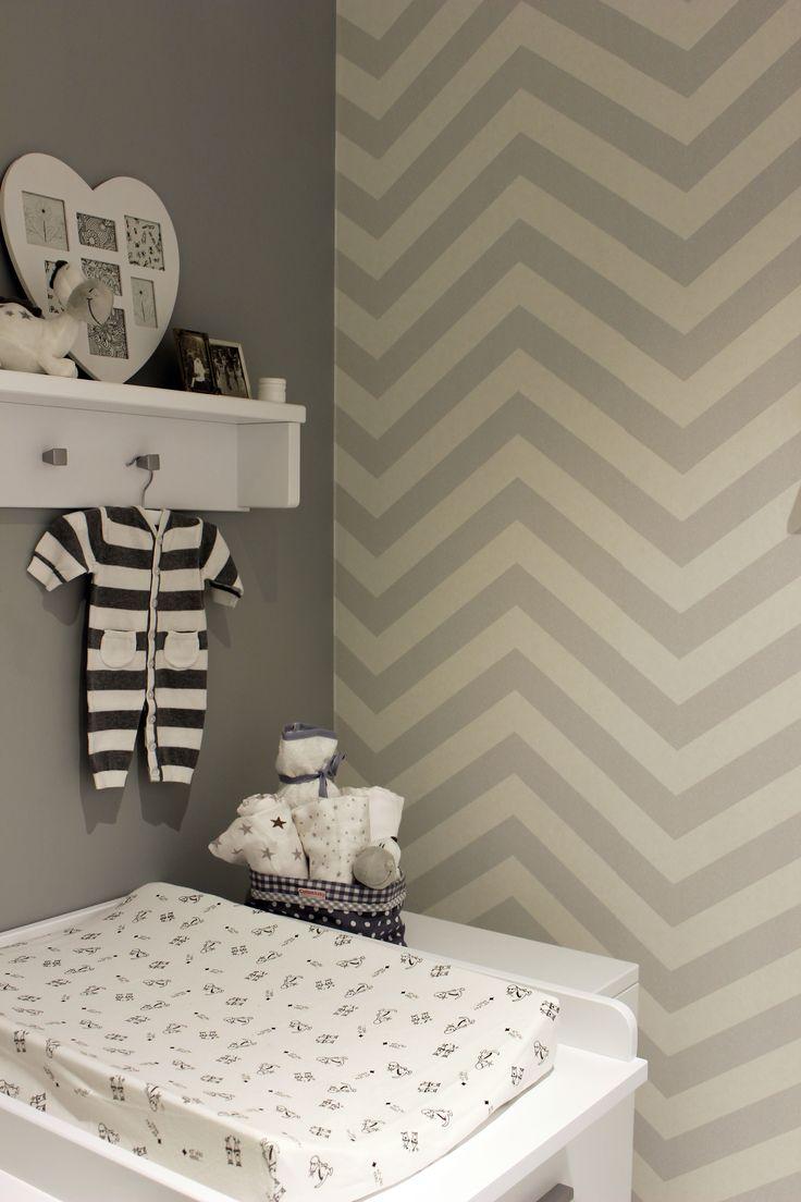 Grijs behang kinderkamer / grey Wallpaper children's room chevron collection Art of Living - BN Wallcoverings