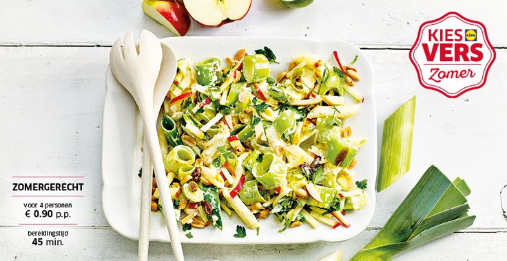 Frisse pastasalade met prei en appel