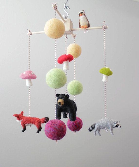 27 best my mobiles images on pinterest needle felting for Woodland animals nursery mobile