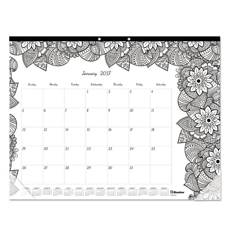 Keep track of important business meetings and dates while you indulge your creative side. Beautiful coloring pages, with a new botanical design each month, help brighten up your office or classroom. F