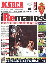 10 de mayo 1995. El golazo de Nayim dio la Recopa al Real Zaragoza. Portada Marca 11 mayo