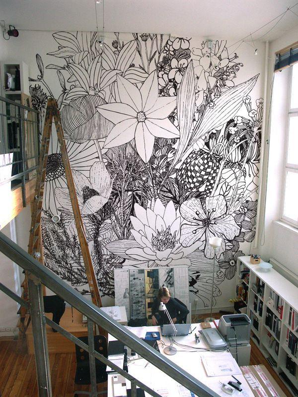 Floral wall mural ideas.