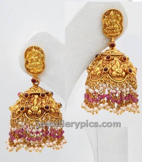 Ganesha embossed gold buttalu ~ Gold Jewellery Designs