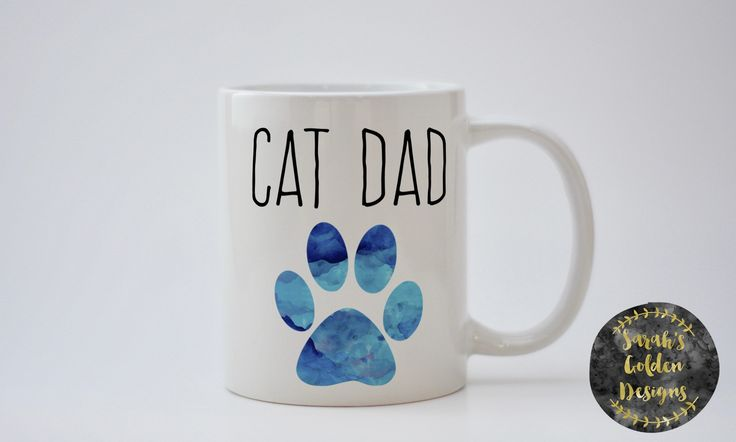 Cat Dad Coffee Mug, Cat Lover Coffee Mug, Cat Dad Mug, Sublimated Mug, Heat Pressed, Cat Dad Gift, I Love My Dad Gift