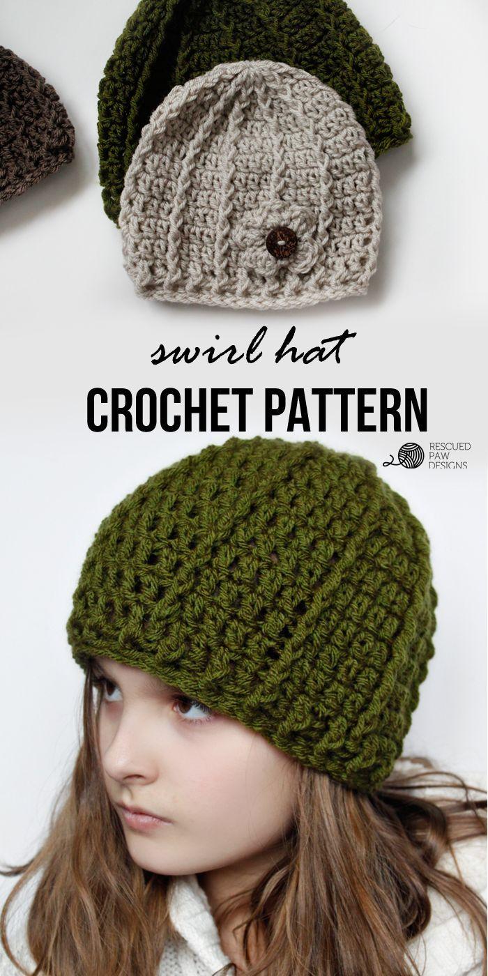 Swirl Hat || FREE CROCHET PATTERN || Rescued Paw Designs