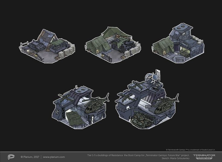 "ArtStation - Tiers 1-5 a buildings of Resistance the Boot Camp for ""Terminator Genesis: Future War"" project, Maria Gritsutenko"