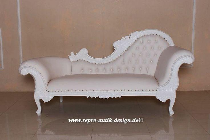 Chaiselongue Barock Sofa Louis XV Antik Barocksofa Kanapee Recamiere weiß Couch