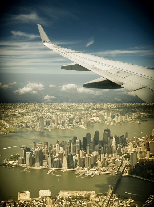 View over Manhattan from a plane window