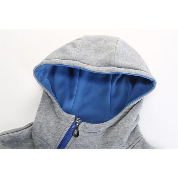 Men's Casual Solid Color Sport Hoodies Fashion Side Zipper Thick Long Sleeve Hooded Sweater at Banggood