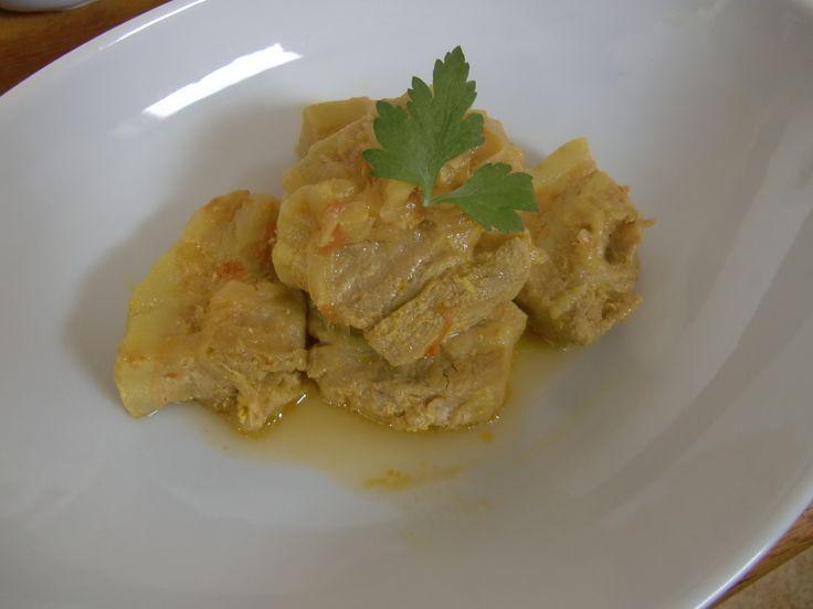 2014年5月のたまねぎ食堂(テーマはインド料理です)で提供したメイン料理「桃豚のヨーグルトマサラ」です!!