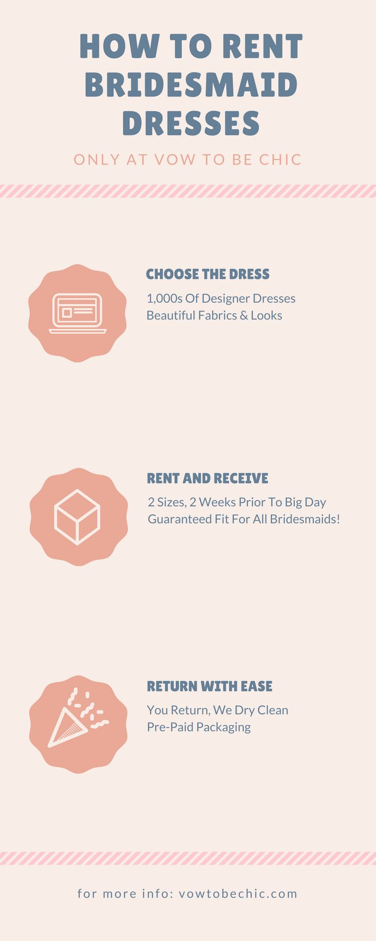 Wouldn't it be nice if you could wear a glam designer bridesmaid dress but not have to break the bank in the process? Now you can! Vow To Be Chic is the first (and only) online bridesmaid dress rental boutique. We deliver high-quality designer bridesmaid dress rentals to bridesmaids' doors for under $100—a fraction of the retail price. We make the process simple, from reserving to free returns. You're welcome. :)