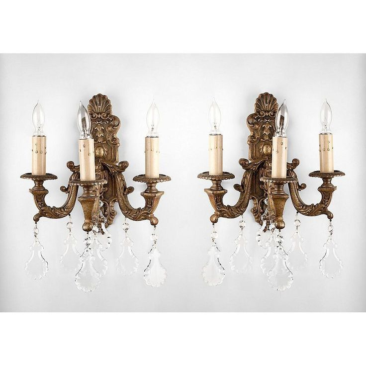 Pr. 19th C. Bronze Baroque Style Wall Sconces, Hung With Crystal Pendalogues