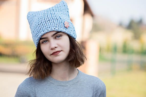 Losse Blue Cat Hat COTTON Cat Hat  Knit Hat Knit Pussy Hat, #bluecathat,  #cathat, #knithat