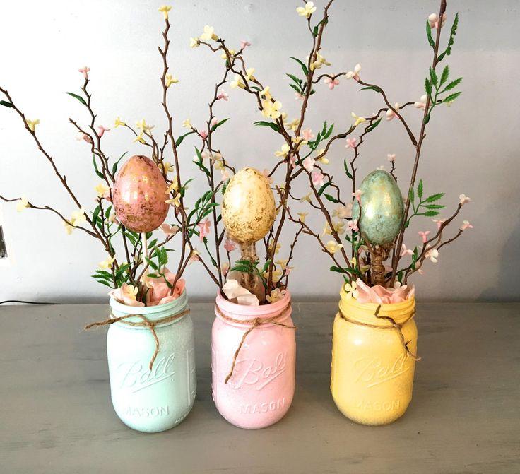 Easter centerpiece, mason jar decor, spring centerpiece, table, mantle decor, planter box, wooden ta