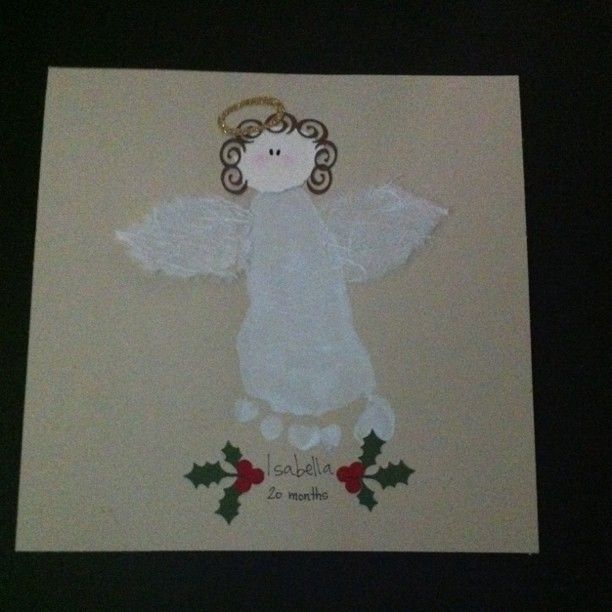 Cute christmas gift for my friends mom. It is her grand-babies foot print.