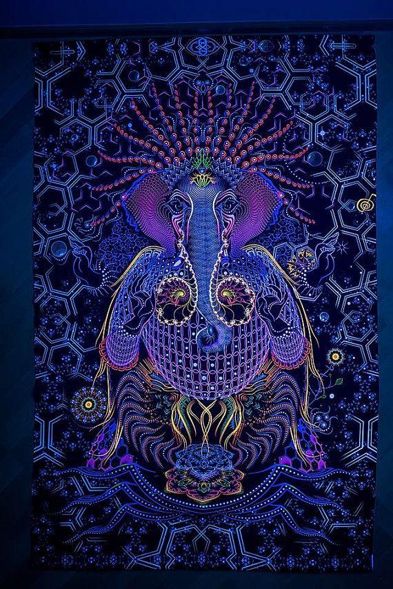 Ganesha arte psicodélico UV tela tapiz fondo bandera fiesta estudio casa Deco