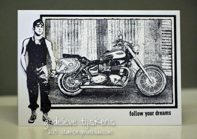 Card by Godelieve Tijskens using Darkroom Door 'Motorcycle' Photo Stamp.