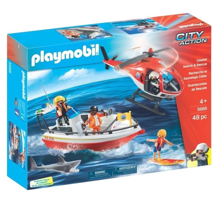 Playmobil #4668 Exclusive City Action Coast Guard Figures Shark Helicopter Lot  | eBay