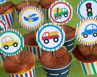 12 Transportation Toppers Car Truck Birthday Car by AngiesDesignz