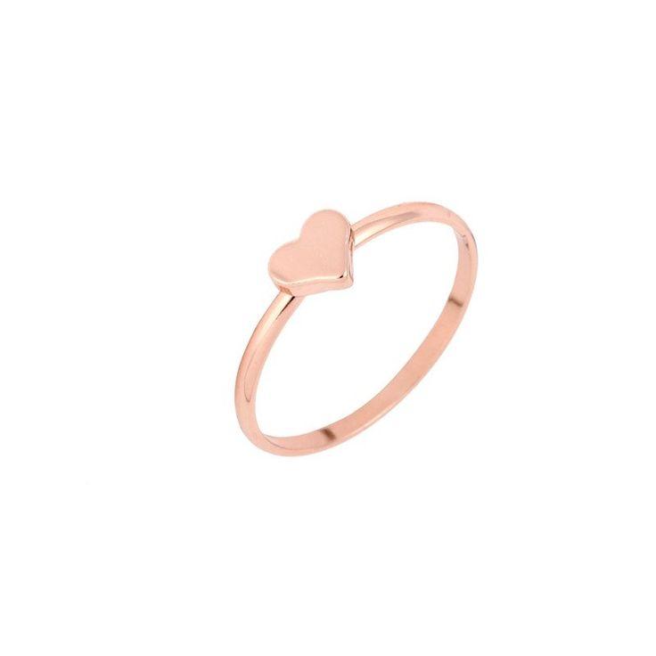 Rose Gold Cute Love Heart Promise Rings