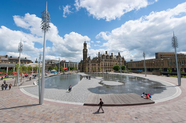 Bradford's City Park designed by Gillespies includes the UK's largest urban water feature and tallest city fountain